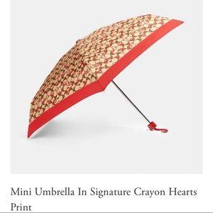 NWT Coach Mini Umbrella With Crayon Hearts Print